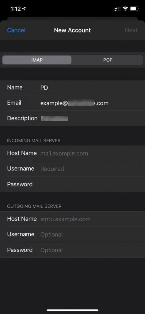 IMAP or POP settings