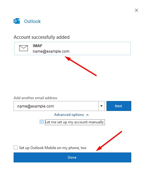 Email address succesfully added