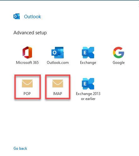 POP or IMAP option
